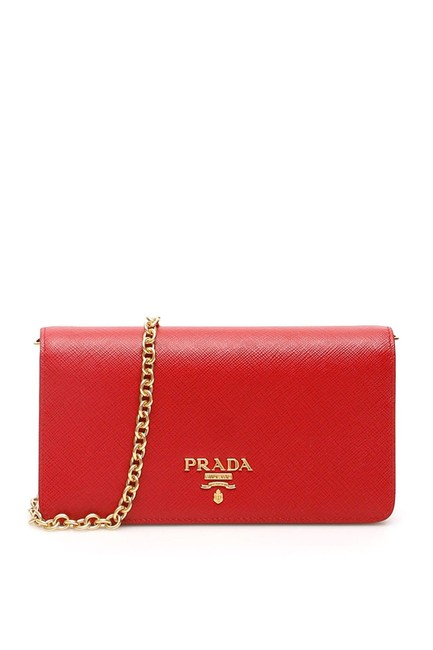 Prada Mini Clutch New with Chain Gold Hw Red Leather Cross Body Bag Prada Mini Clutch New with Chain Gold Hw Red Leather Cross Body Bag Image 1