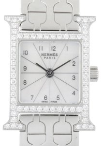 Hermes Hermes H Watch Diamond Ladies HH1.130.212.4835 Stainless Steel White Shell Arabian Dial DH48102