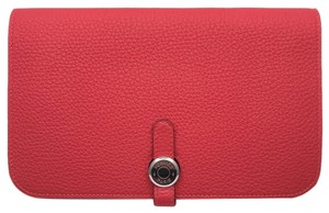 Hermes Hermes Dogon GM T carved 2015 Lady's long wallet Togo Rouge Pivowanne DH50862