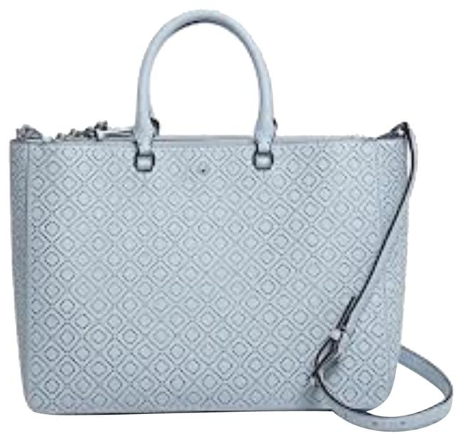 Item - Robinson Perforated Double Zip Convertible Blue Leather Satchel