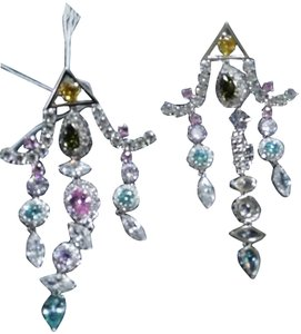 Fallon NWT $425 Fallon crystal chandelier earrings with colorful stones