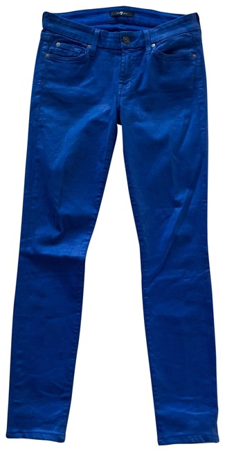 Item - Blue Coated Waxy 27 Stretchy Skinny Jeans Size 4 (S, 27)