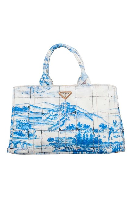 Prada Canapa Off White/Blue Printed Large Blue Canvas Tote Prada Canapa Off White/Blue Printed Large Blue Canvas Tote Image 1