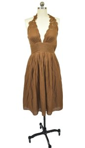 Catherine Malandrino short dress Brown Sundress Vacation Halter Eyelet on Tradesy