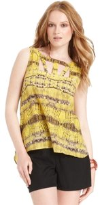Bar III Top Yellow Print