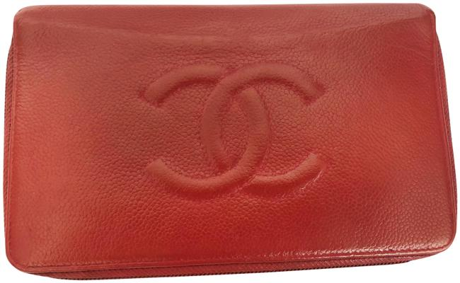 Chanel Large Timeless Cc Zip Around Wallet Red Caviar Leather Clutch Chanel Large Timeless Cc Zip Around Wallet Red Caviar Leather Clutch Image 1