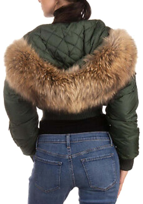 Item - Army Green Fur Hooded Bomber Jacket Coat Size 6 (S)