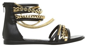 Marlow Chain-link Accents And Zip Closure Black & Glod Sandals