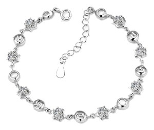 Meiligan Jewelry Clear cz sterling silver link chain bracelet