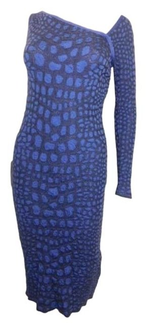 Item - Purple Croc Cut Out One Sleeve Midi Mid-length Cocktail Dress Size 4 (S)