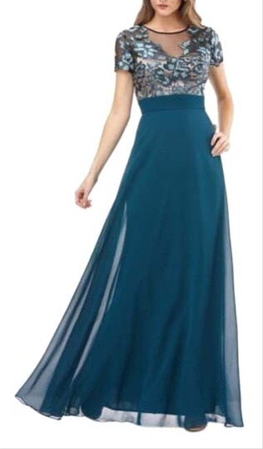 Item - Hunter Green Embroidered Bodice Illusion Gown Long Formal Dress Size 12 (L)