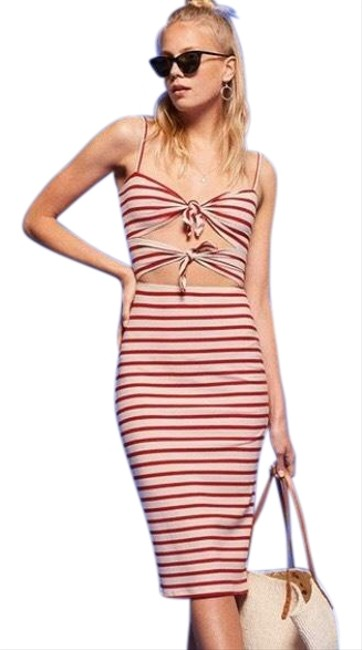 Item - Red / Beige Ibiza Mid-length Night Out Dress Size 4 (S)
