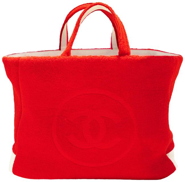 Item - Timeless White Reversible Pool Limited Edition Red Terry Tote Beach Bag