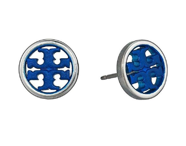 Item - Silver Small Navy Circle Logo Studs Earrings