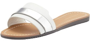 Elizabeth Taylor Slides Leather 8.5 silver Flats