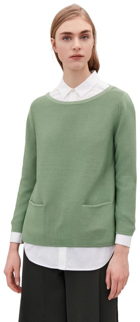 Item - A-line Cotton Knitted Double Pocket Green Sweater