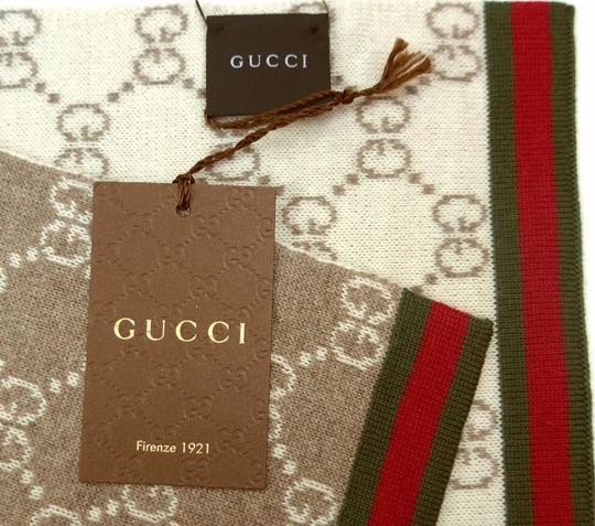 Gucci GUCCI beige & ivory SOLANGE Original GG red & green WEB wool scarf NWT Authentic