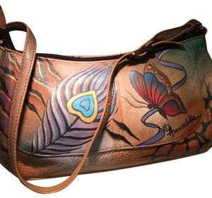 Anuschka Hand Painted Butterflies Peacock Feathers Satchel in Brown/Multi