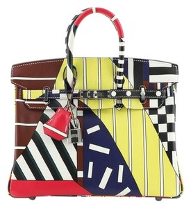 Hermes Leather Satchel in Multicolor, Red, Yellow