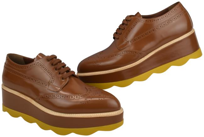 Item - Brown 1e935g Leather Brogue Wingtip Perforated Platform Oxfords Sneakers Size EU 38.5 (Approx. US 8.5) Regular (M, B)