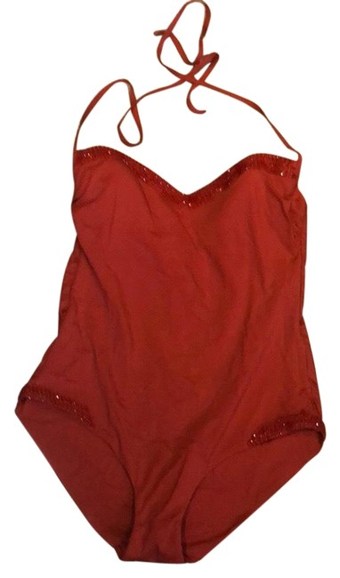 Item - Red Beaded One-piece Bathing Suit Size 12 (L)