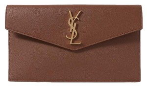 Saint Laurent Uptown textured-leather clutch
