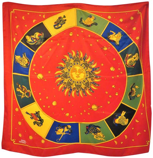 Item - Red Gold Multi Gianni Blue Astrological Themed Silk Scarf/Wrap