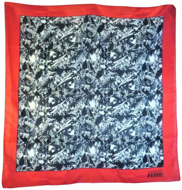 Item - Black Red. White Red Abstract Themed Silk Scarf/Wrap