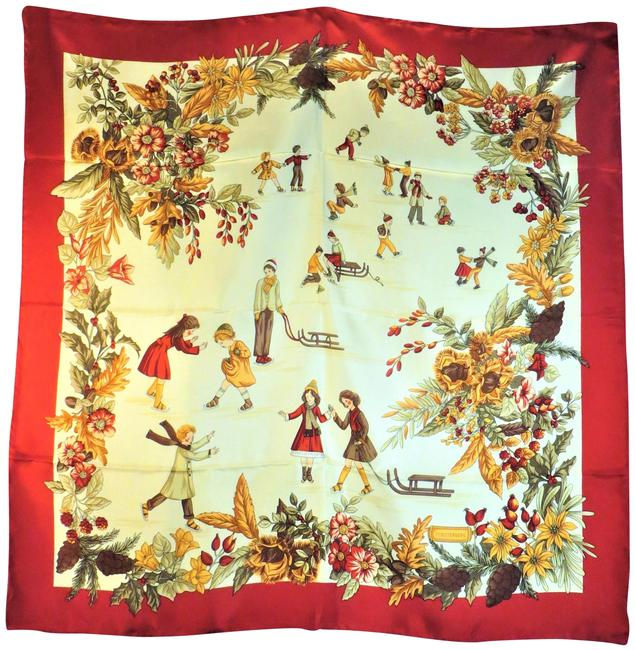 Item - Red Cream Gold Brown Sealed Ice Skating Themed Silk Scarf/Wrap