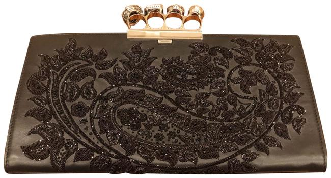 Alexander McQueen Four Ring Black Leather Clutch Alexander McQueen Four Ring Black Leather Clutch Image 1
