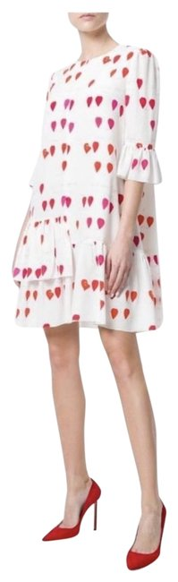 Item - Ivory Pink Red Pretty Petal Silk Mid-length Short Casual Dress Size 4 (S)