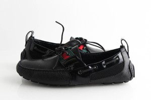Gucci Black Lace-up with Web Signature Loafers Shoes