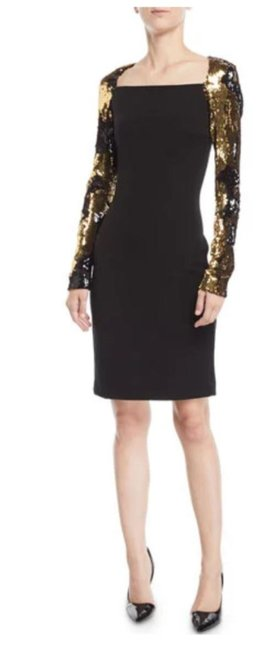 Item - Black/Gold With Sequin Sleeves Mid-length Cocktail Dress Size 8 (M)