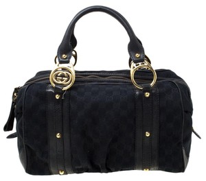 Gucci Canvas Leather Satchel in Black