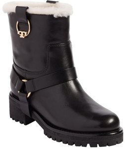 Tory Burch Moto Real Shearling Pull On Metal Logo Black Boots