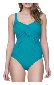 Gottex Gottex Lattice Peacock Square Neck One Piece Swimsuit
