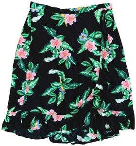 Old Navy Wrap Floral Elastic Tropical Skirt Black, White, Green, Pink