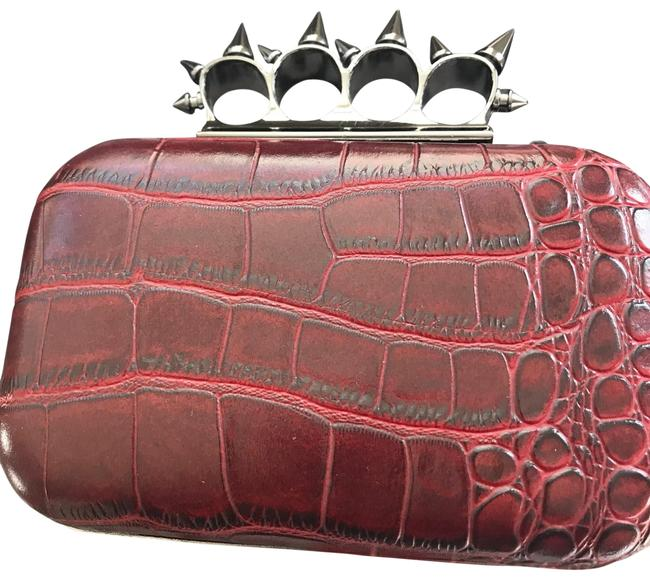 Item - With 4 Finger Hold (Alexander Mcqueen Dupe) Red Faux Croc Print Leather Clutch