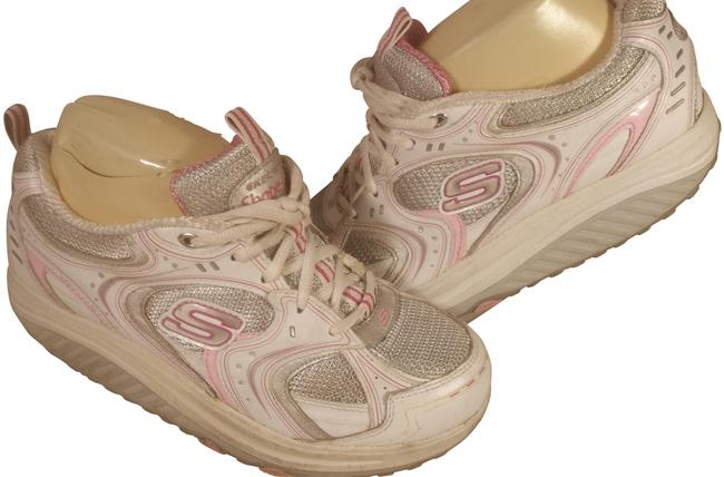 Item - White W/Pink Accents Woman's Leather and Textile W/Mesh Shape-ups 7.5m Sneakers Size US 7.5 Regular (M, B)