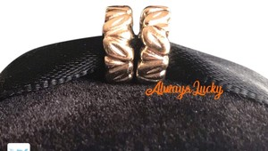 PANDORA Authentic Pandora Leaf Spacers Set of two Solid 14K Yellow Gold Retired