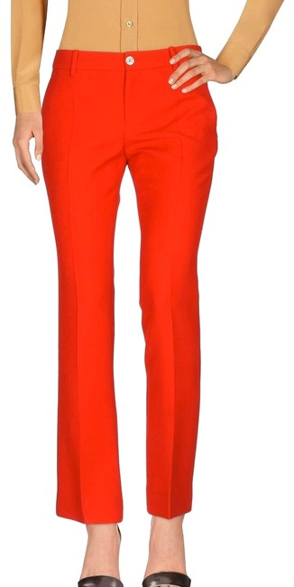 Item - Hibiscus Red Fine Drill Silk/Wool Stretch Trousers Pants Size 2 (XS, 26)