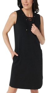 Denim & Co. short dress Black Solid French Terry Grommet on Tradesy