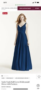 David's Bridal Marine Satin Tank Ball Gown with Pockets Formal Bridesmaid/Mob Dress Size 4 (S)