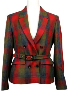 Gucci Womens Plaid Check Wool Red/Brown Jacket