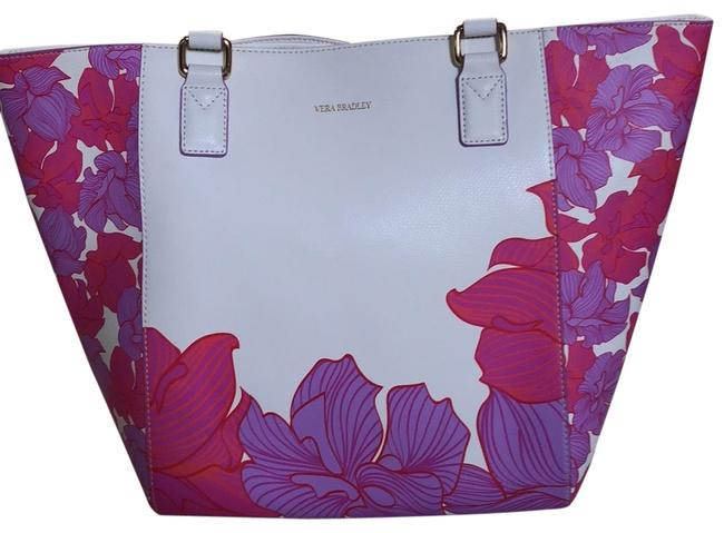 Item - White with Pink Lavender with A Little Orange In The Flowers Tote