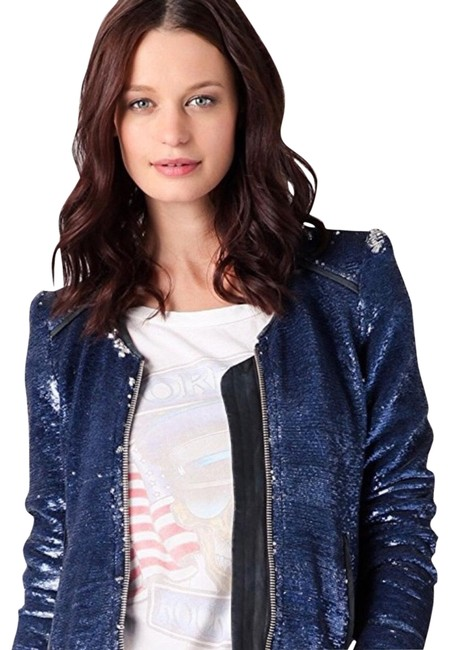 Item - Blue Silver Iridescent Dylan Sequin Jacket Size 6 (S)
