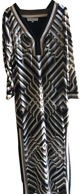 Item - Black White and Tan Caftan Long Casual Maxi Dress Size 0 (XS)