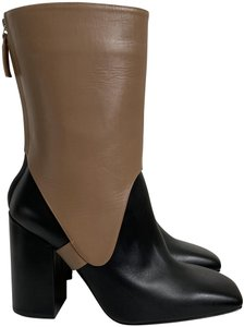 Victoria Beckham Leather Zip Two-tone Black Boots