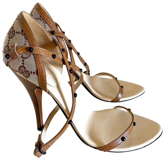 Gucci Brown Gg Canvas and Leather Trim Sandals Size US 8 Regular (M, B) Gucci Brown Gg Canvas and Leather Trim Sandals Size US 8 Regular (M, B) Image 1