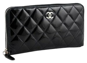 Chanel Black Quilted Patent Leather Zip Around Wallet Pouch Bag